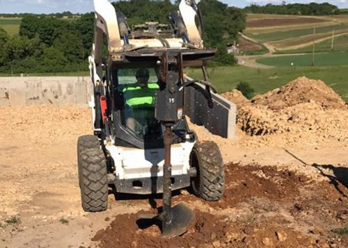 Rock Solid Concrete crewman drilling at Hawks Mill Winery